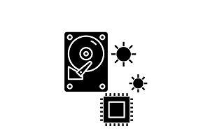 Hardware solutions black icon