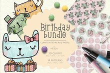 Birthday clipart and pattern bundle