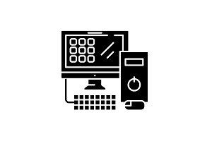 Computer desktop black icon, vector
