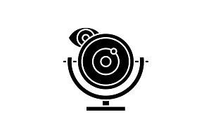 Web camera black icon, vector sign