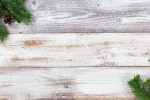 Christmas Evergreen Decor on Wood