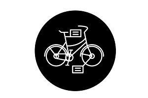 City bicycle black icon, vector sign