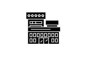 Resort hotel black icon, vector sign
