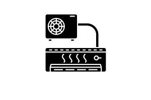Air conditioner black icon, vector