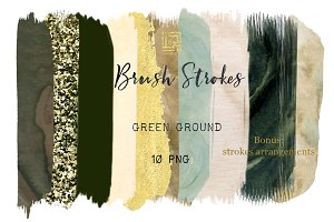 Green Ground. Brush Strokes Clip Art