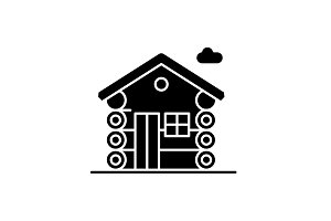 Dwelling black icon, vector sign on