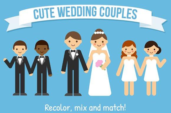 vector cartoon wedding couples illustrations creative market