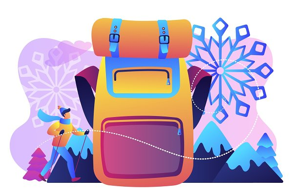Winter hiking concept vector