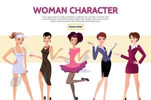 Flat woman characters set