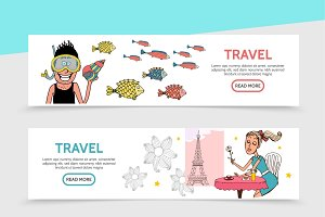 Flat travel horizontal banners
