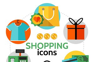 Shopping icons round concept