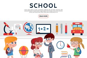 Flat school elements set