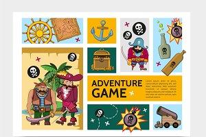 Adventure game infographic set