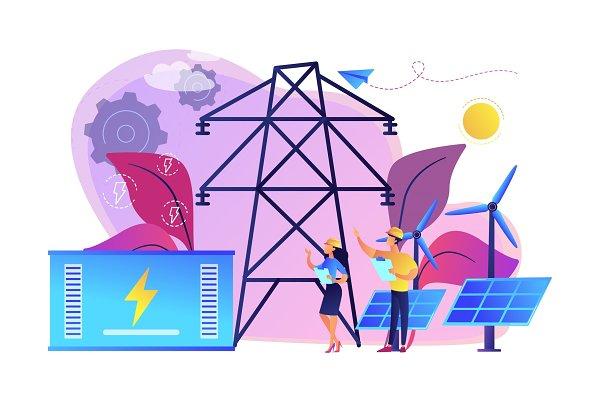 Energy storage concept vector