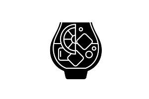Brandy black icon, vector sign on