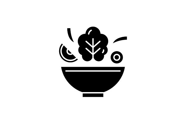 Bowl of salad black icon, vector