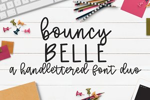 Bouncy Belle Hand lettered Font