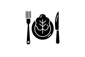Vegetarian menu black icon, vector