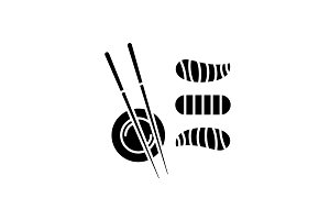 Sushi black icon, vector sign on