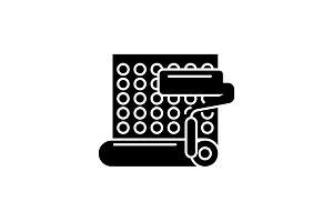 Wallpapering black icon, vector sign