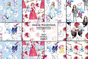 Alice in Wonderland Seamless pattern