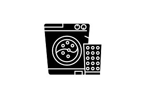 Washer black icon, vector sign on