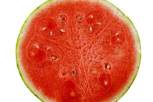 Fresh cut watermelon half isolated