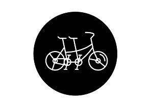Double bike black icon, vector sign
