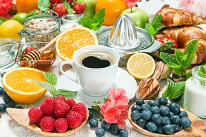Healthy breakfast table with coffee