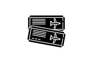 Airline tickets black icon, vector
