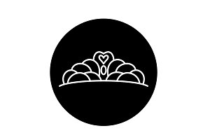 Crown black icon, vector sign on