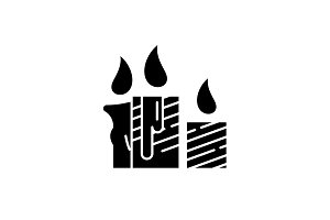 Wax light candles black icon, vector