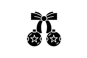 Christmas balls with bow black icon