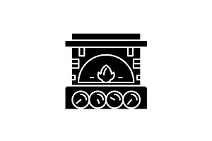 Fireplace brick black icon, vector