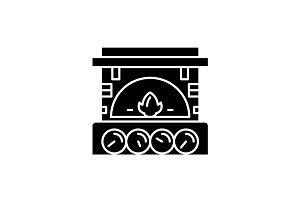 Fireplace brick black icon, vector