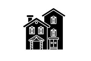 Country villa black icon, vector