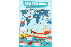 Fishing sport, fishery infographic