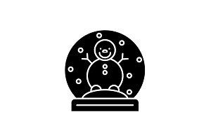 Snow globe with snowman black icon