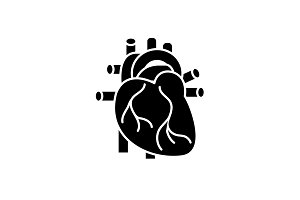 Human heart black icon, vector sign