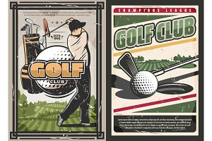 Sport golf club, player, game items