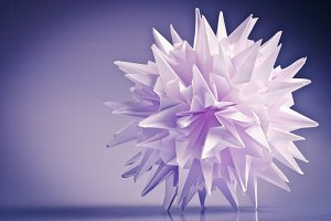 White origami unit kusudama virus or