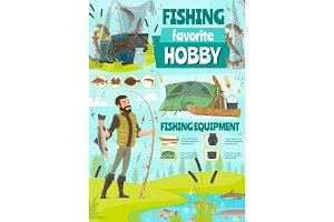 Fisher with fish and rod, cartoon