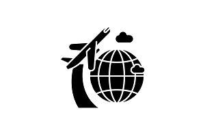 Around the world black icon, vector
