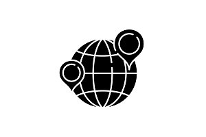 Globe with pointers black icon