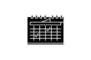 Calendar planning black icon, vector