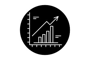 Growth chart black icon, vector sign