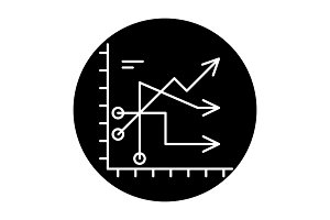 Business trends black icon, vector