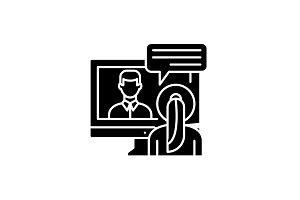 Online negotiations black icon