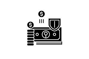 Finance protection black icon