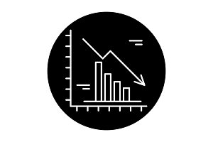 Falling markets black icon, vector
